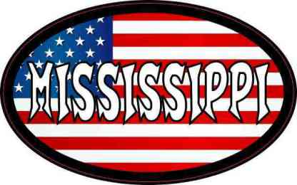 Oval American Flag Mississippi Sticker