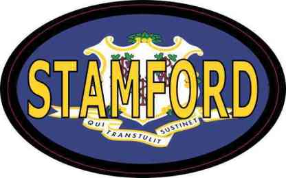 Oval Connecticut Flag Stamford Sticker