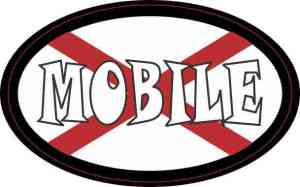 Oval Alabaman Flag Mobile Sticker