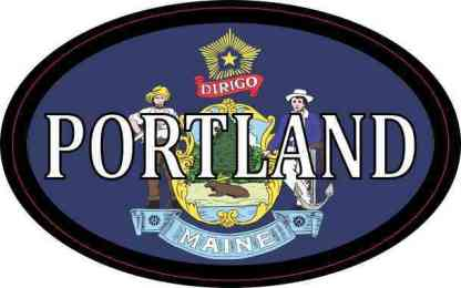 Oval Maine Flag Portland Sticker