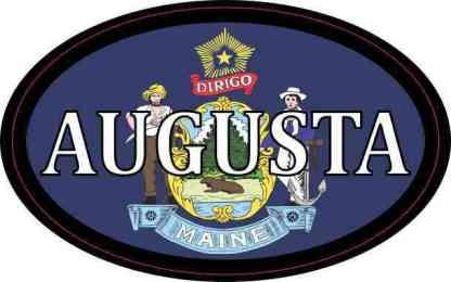 Oval Maine Flag Augusta Sticker
