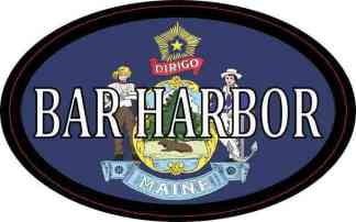 Oval Maine Flag Bar Harbor Sticker