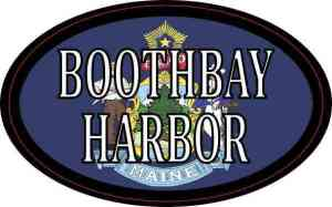 Oval Maine Flag Boothbay Harbor Sticker