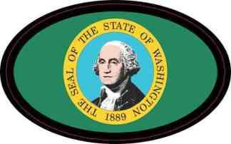 Flag Oval Washington Sticker