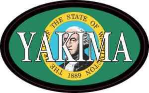 Oval Washington Flag Yakima Sticker