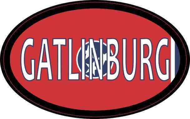 Oval Tennessee Flag Gatlinburg Sticker