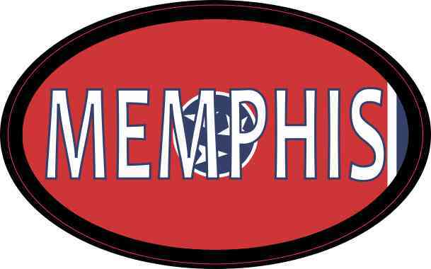 Oval Tennessee Flag Memphis Sticker