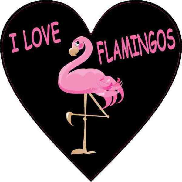 I Love Flamingos Heart Sticker