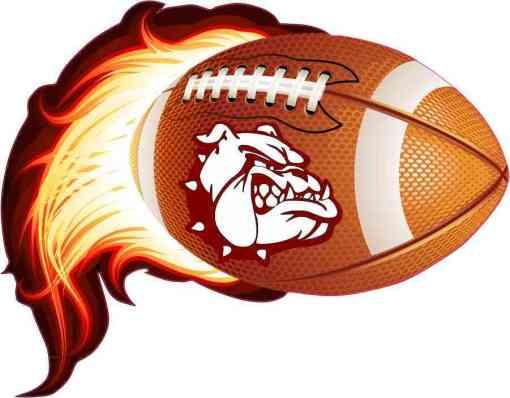 Maroon Bulldog Flame Football Sticker