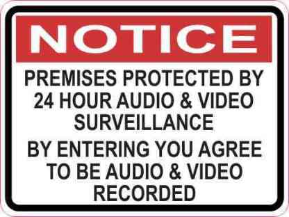 Notice Premises Protected by 24 Hour Surveillance Magnet