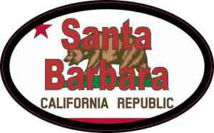 Oval Californian Flag Santa Barbara Sticker