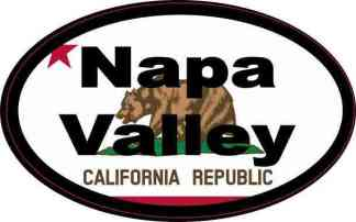 Oval Californian Flag Napa Valley Sticker
