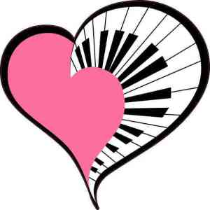 Pink Piano Heart Sticker