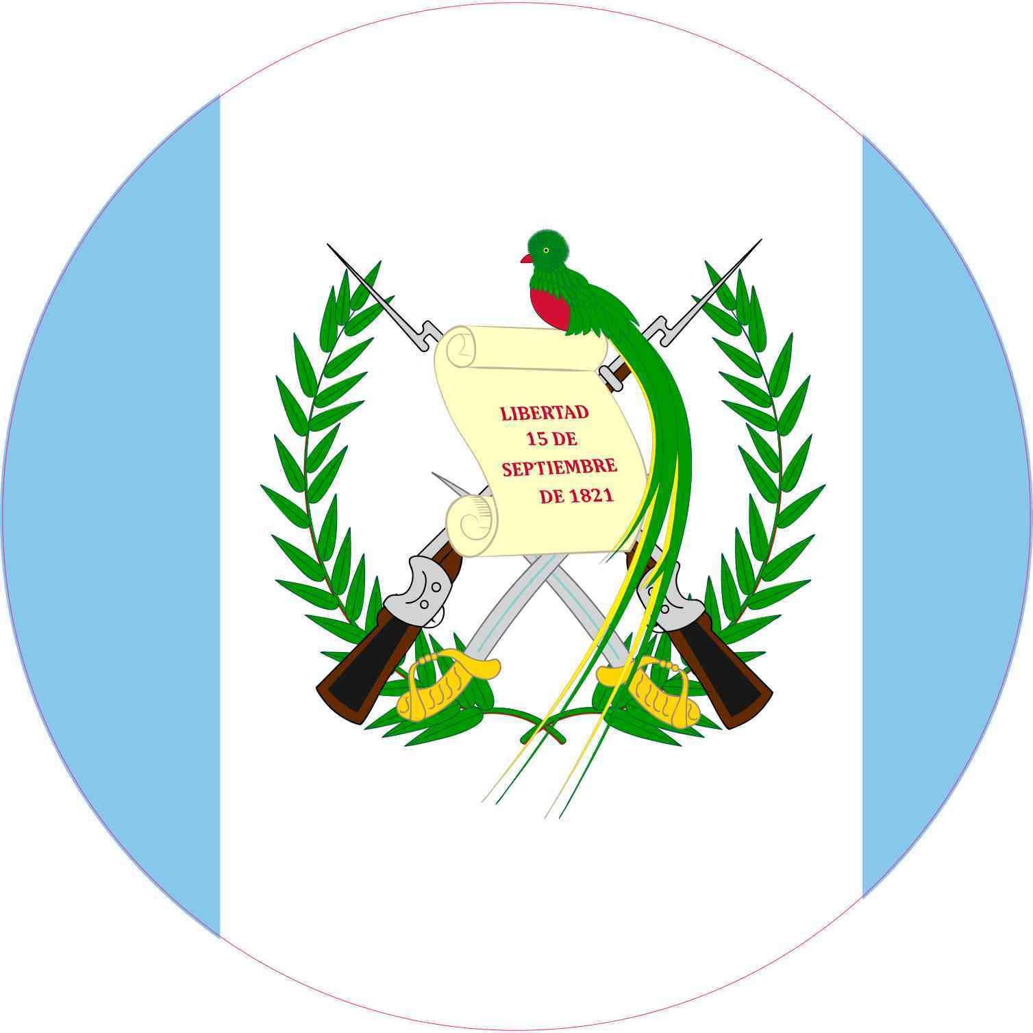 10in X 10in Round Guatemala Flag Sticker Stickertalk