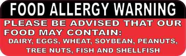 Food Allergy Warning Sticker