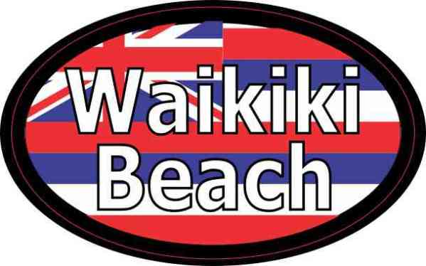Oval Hawaii Flag Waikiki Beach Sticker