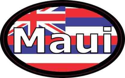 Oval Hawaii Flag Maui Sticker