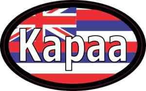Oval Hawaii Flag Kapaa Sticker
