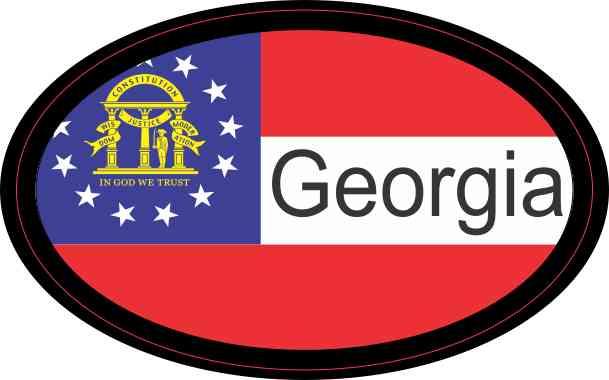 Flag Oval Georgia Sticker