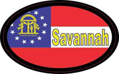 Oval Georgia Flag Savannah Sticker