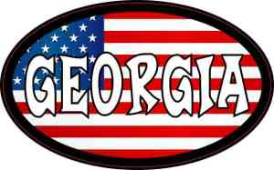 Oval American Flag Georgia Sticker