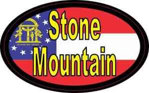 Oval Georgia Flag Stone Mountain Sticker