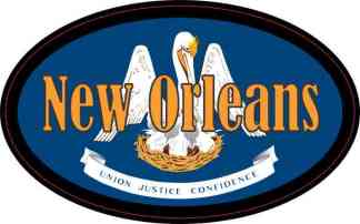 Oval Louisiana Flag New Orleans Sticker