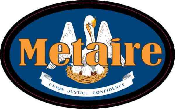 Oval Louisiana Flag Metaire Sticker