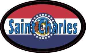 Oval Missouri Flag Saint Charles Sticker