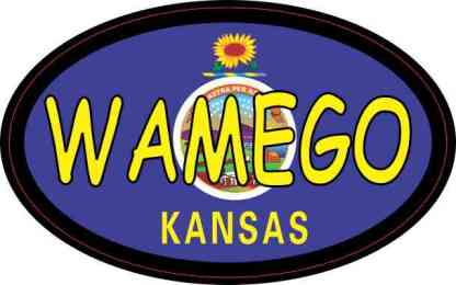 Oval Kansas Flag Wamego Sticker