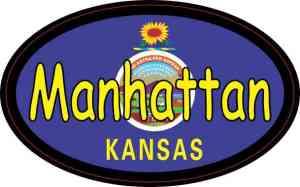 Oval Kansas Flag Manhattan Sticker