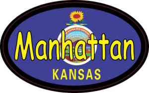 Oval Kansas Flag Manhattan Sticker