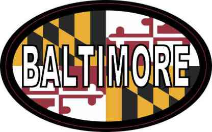 Oval Maryland Flag Baltimore Sticker