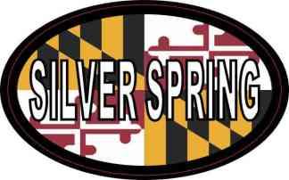 Oval Maryland Flag Silver Spring Sticker
