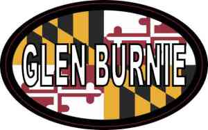 Oval Maryland Flag Glen Burnie Sticker