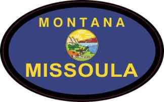 Oval Montana Flag Missoula Sticker