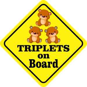 One Girl Two Boys Triplets on Board Sticker