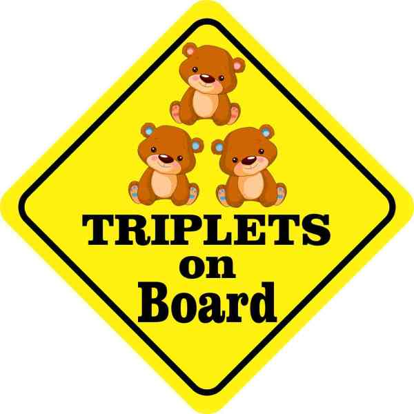 One Girl Two Boys Triplets on Board Sticker