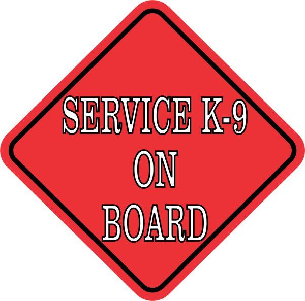 Red Service K-9 on Board Sticker