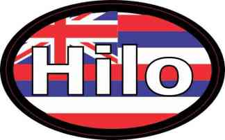 Oval Hawaii Flag Hilo Sticker