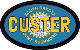 Oval South Dakota Flag Custer Sticker