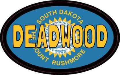 Oval South Dakota Flag Deadwood Sticker