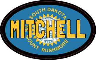 Oval South Dakota Flag Mitchell Sticker