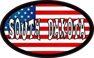 Oval American Flag South Dakota Sticker