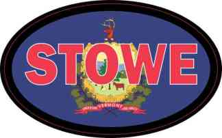 Oval Vermont Flag Stowe Sticker