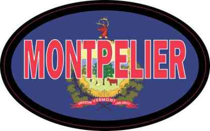 Oval Vermont Flag Montpelier Sticker