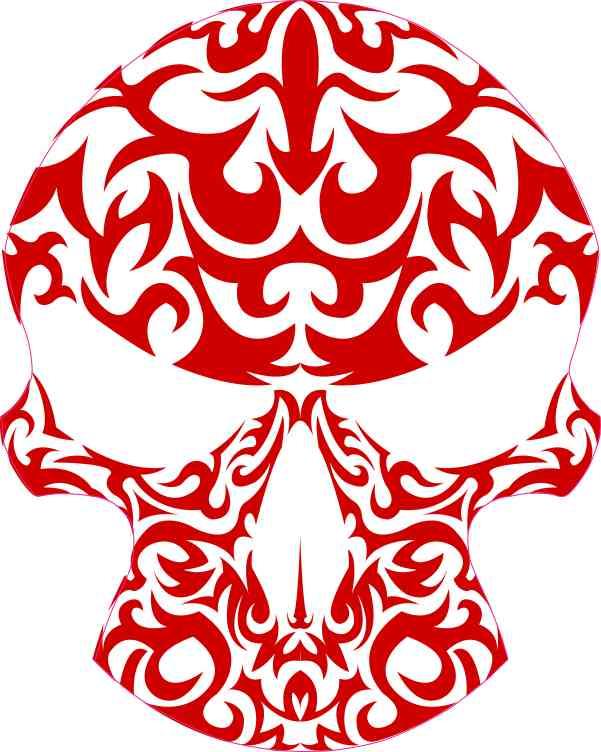 Red Tribal Skull Sticker