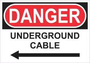 Left Arrow Danger Underground Cable Sticker
