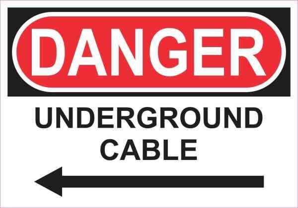 Left Arrow Danger Underground Cable Magnet