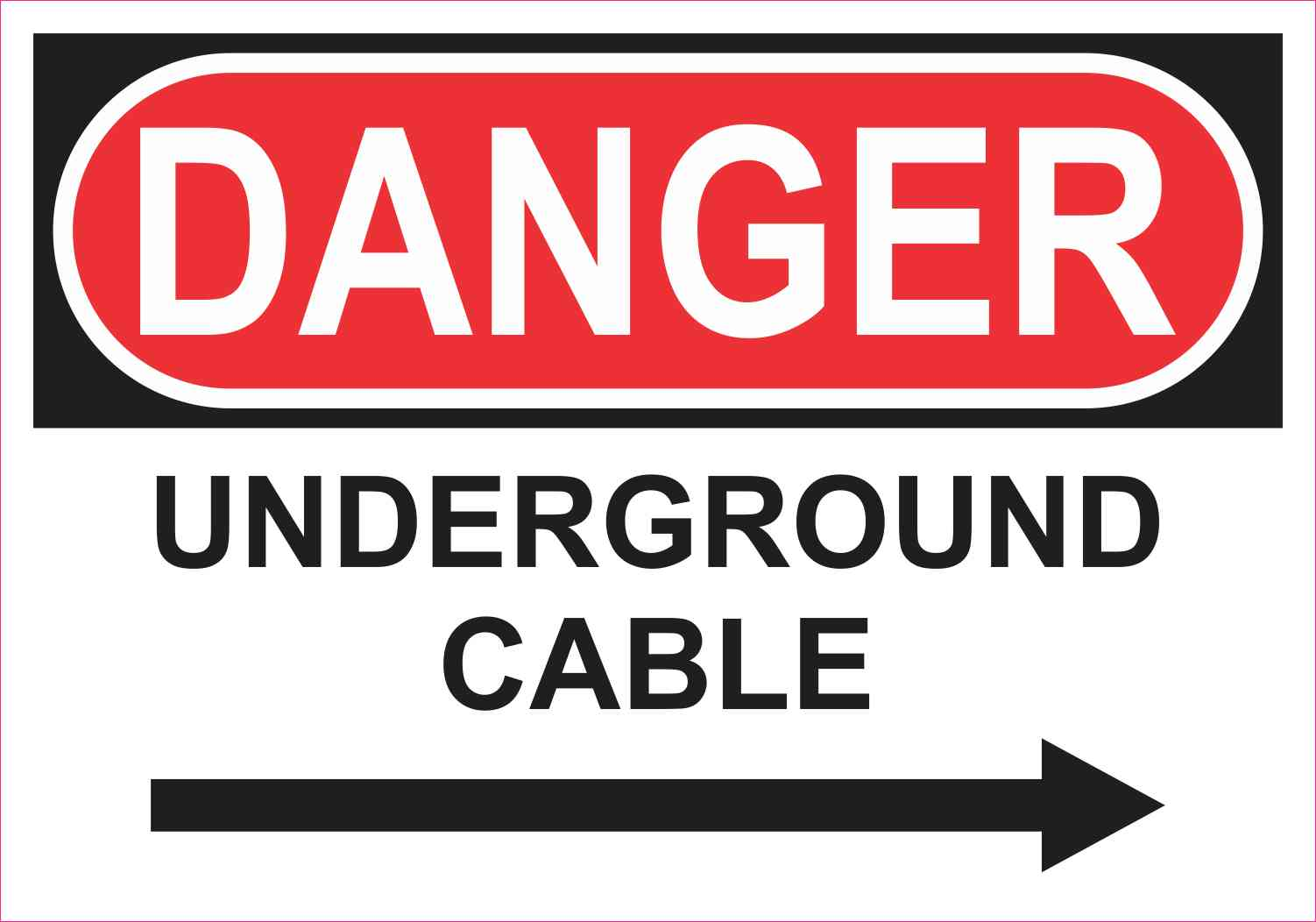 Right Arrow Danger Underground Cable Sticker